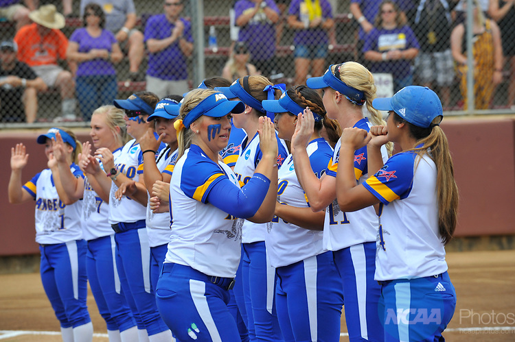 SALEM, VA - MAY 29:  Minnesota State University takes on Angelo State University during the Division II Women's Softball Championship held at Moyer Park on May 29, 2017 in Salem, Virginia. Minnesota State defeated Angelo State 5-1 to win the national championship. (Photo by Andres Alonso/NCAA Photos via Getty Images)