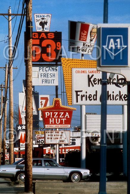 December 1976. Americus, Georgia. Main streets of down town Americus.