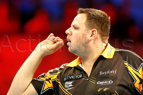 23.07.2016. Empress Ballroom, Blackpool, England. BetVictor World Matchplay Darts. Adrian Lewis shooting darts