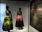 Dior exhibition celebrating the seventieth anniversary of the Christian Dior fashion house on July 15, 2017 in Paris, France. The exhibition at the Museum of Decorative Arts (Musee des Arts Decoratifs) is a retrospective presenting some 400 dresses, and runs through July 15, 2017 - January 7, 2018.