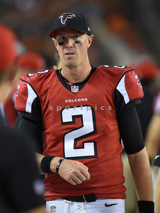 CLEVELAND, OH - AUGUST 18, 2016: Quarterback Matt Ryan #2 of the Atlanta Falcons walks along the sideline in the fourth quarter of a preseason game on August 18, 2016 against the Cleveland Browns at FirstEnergy Stadium in Cleveland, Ohio. Atlanta won 24-13. (Photo by: 2016 Nick Cammett/Diamond Images) *** Local Caption *** Matt Ryan