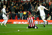 Ollie Watkins of Brentford rues the missed penalty during the Sky Bet Championship match between Brentford and Leeds United at Griffin Park, London, England on 4 November 2017. Photo by Carlton Myrie.