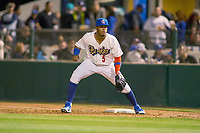 Rancho Cucamonga Quakes Cristian Santana (5) on defense against the Inland Empire 66ers at LoanMart Field on April 12, 2018 in Rancho Cucamonga, California. The 66ers defeated the Quakes 5-4.  (Donn Parris/Four Seam Images)