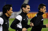 Harrison, NJ - Wednesday Feb. 22, 2017: Marvin Torrentera, Miguel Angel Hernandez, Cesar Ramos prior to a Scotiabank CONCACAF Champions League quarterfinal match between the New York Red Bulls and the Vancouver Whitecaps FC at Red Bull Arena.