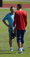 EURO 2012 - POLAND - Gniewino - 13 JUNE 2012 - Spain National Team official MD-1 training. Spanish midfielder Santi Cazorla and third goalkeeper Victor Valdes.