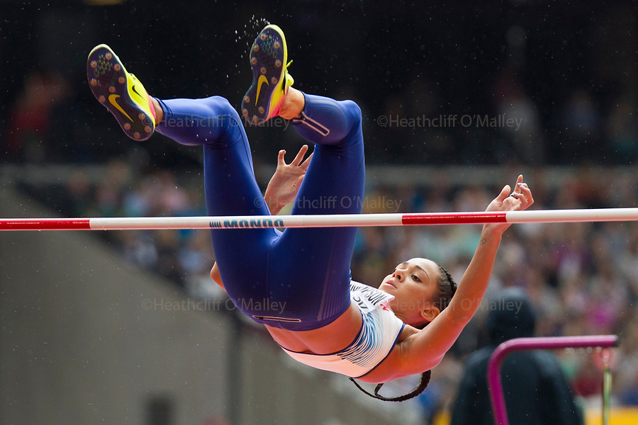 Mcc0078114 . Daily Telegraph<br /> <br /> DT Sport<br /> <br /> Katarina Johnson-Thompson competing in the Womens Heptathlon High Jump<br /> <br /> Day 1 of the IAAF World Championships at the London Stadium in Stratford .<br /> <br /> 4 August 2017