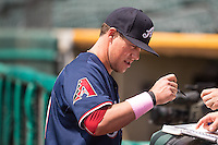 Blake Lalli (21) of the Reno Aces before the game against the Salt Lake Bees in Pacific Coast League action at Smith's Ballpark on May 10, 2015 in Salt Lake City, Utah.  Salt Lake defeated Reno 9-2 in Game One of the double-header. (Stephen Smith/Four Seam Images)