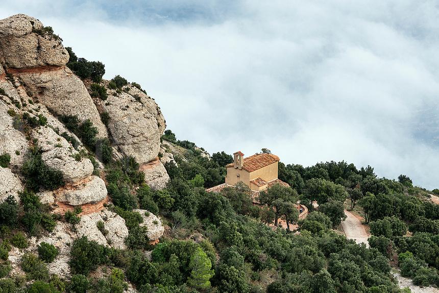 Remote chapel, Santa Maria de Montserrat Abbey, Monistrol de Montserrat, Catalonia, Spain.