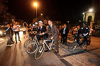 Roma 17 Settembre 2013<br /> Piazza Cesare De Cupis<br /> Il Sindaco di Roma Ignazio Marino visita il quartiereTor Sapienza con il Presidente del Municipio V Palmieri in bicicletta