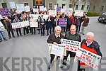 Bernard Collins Chair of North and East Kerry Development, George Kelly Vice Chairman of South Kerry Development Partnership, Eugene Dennehy, Board Member South Kerry Partnership and many protesters at the South Kerry Development Partnership  Alignment Protest Meeting outside of the Kerry County Council Monthly Meeting on Monday