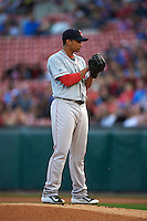 Pawtucket Red Sox pitcher William Cuevas (32) gets ready to deliver a pitch during a game against the Buffalo Bisons on August 28, 2015 at Coca-Cola Field in Buffalo, New York.  Pawtucket defeated Buffalo 7-6.  (Mike Janes/Four Seam Images)