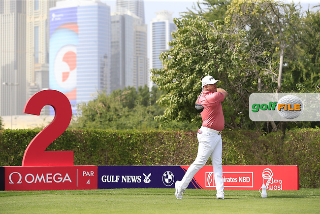 Lee Westwood (ENG) on the 2nd tee during Round 2 of the Omega Dubai Desert Classic, Emirates Golf Club, Dubai,  United Arab Emirates. 25/01/2019<br /> Picture: Golffile | Thos Caffrey<br /> <br /> <br /> All photo usage must carry mandatory copyright credit (© Golffile | Thos Caffrey)
