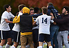 Stony Brook School teamates and spectators celebrate after the team's 2-1 win over Long Island Lutheran in the PSAA varsity boys soccer championship at Cantiague Park in Hicksville on Friday, Oct. 26, 2018.