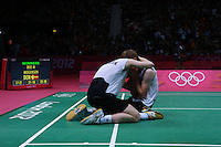 04.08.2012. London, England.  Mathias Boe and Carsten Mogensen of Denmark Celebrate After mens Doubles Semi-finals of Badminton victory Against Chung Jae and Lee Yong Dae of South Korea  London 2012 Olympic Games  Mathias Boe Carsten Mogensen Won The Match 2 1