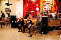 30th. Anniversary of the Miners' Strike<br /> End of Strike Social<br /> Florence Sports and Social Club<br /> Stoke on Trent<br /> Part of a season of events commemorating the 30th anniversary of the miners' strike of 1984 - 1985.<br /> L-R: Bridget Bell and Brenda Procter (North Staffs Miners' Wives Action Group) and Javed Siddiqi.
