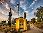 Roadside shrine on a hill above, Monsummano Terme, Tuscany, Italy