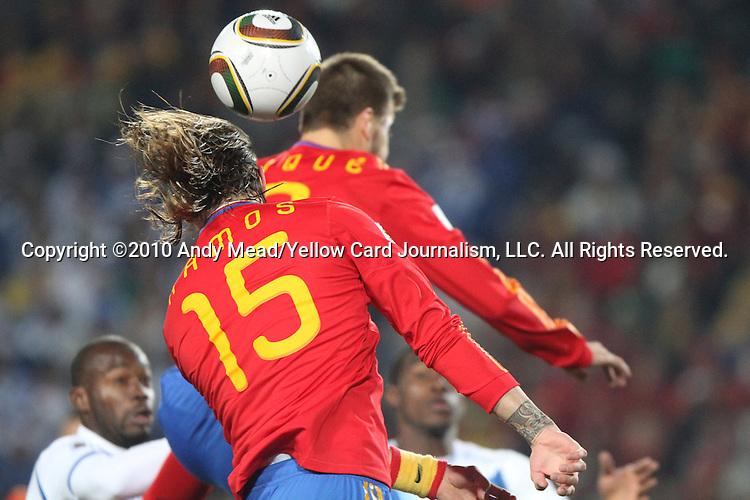 21 JUN 2010: Sergio Ramos (ESP) (15). The Spain National Team played the Honduras National Team at Ellis Park Stadium in Johannesburg, South Africa in a 2010 FIFA World Cup Group C match.
