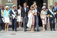 The royal christening of Crown Princess Victoria and Prince Daniel's daughter Princess Estelle Silvia Ewa Mary of Sweden, in the Royal Chapel in Stockholm, 22.05.2012...Pictured: Prince Carl Philip, Anna Westling Söderblom, Crown Prince Willem Alexander, Crown Princess Victoria, Princess Estelle, Prince Daniel, Crown Princess Mary, Queen Silvia, King Carl XVI Gustaf, Crown Prince Haakon, Ewa Westling and Olle Westling...Credit: Stella Pictures/face to face..- Germany, Austria, Switzerland and USA rights only - / Mediapunchinc