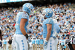19 November 2016: UNC's Brandon Fritts (82) celebrates his touchdown with Austin Proehl (7). The University of North Carolina Tar Heels hosted the The Citadel, The Military College of South Carolina Bulldogs at Kenan Memorial Stadium in Chapel Hill, North Carolina in a 2016 NCAA Division I College Football game. UNC won the game 41-7.