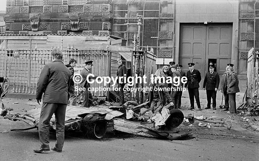 Scene of  explosion outside gates of Crumlin Road Prison, Belfast, N Ireland, UK.  The bomb, believed to around 100 lbs of explosive, was in hijacked delivery van.197703140163a.<br /> <br /> Copyright Image from Victor Patterson, 54 Dorchester Park, <br /> Belfast, UK, BT9 6RJ<br /> <br /> t1: +44 28 9066 1296 (from Rep of Ireland 048 9066 1296)<br /> t2: +44 28 9002 2446 (from Rep of Ireland 048 9002 2446)<br /> m: +44 7802 353836<br /> <br /> e1: victorpatterson@me.com<br /> e2: victorpatterson@gmail.com<br /> www.victorpatterson.com<br /> <br /> Please see my Terms and Conditions of Use at www.victorpatterson.com. It is IMPORTANT that you familiarise yourself with them.<br /> <br /> Images used on the Internet must be visibly watermarked i.e. &copy; Victor Patterson<br /> within the body of the image and copyright metadata must not be deleted. Images <br /> used on the Internet have a size restriction of 4kbs and will be chargeable at current<br />  NUJ rates unless agreed otherwise.<br /> <br /> This image is only available for the use of the download recipient i.e. television station, newspaper, magazine, book publisher, etc, and must not be passed on to any third <br /> party. It is also downloaded on condition that each and every usage is notified within 7 days to victorpatterson@me.com<br /> <br /> The right of Victor Patterson to be identified as the author is asserted in accordance with The Copyright Designs And Patents Act (1988).