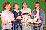 TOP PART SINGLES: Competing in the Kerry Top Part Singles Badminton County Championship at Tralee Sport and Leisure Centre on Sunday l-r: Catherine O'Mahony Ballinorg South, Barby Jogi Clahane, Sarah Murphy and Paul O'Callaghan from Listowel.