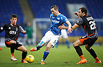 St Johnstone v Kilmarnock....09.01.16  Scottish Cup  McDiarmid Park, Perth<br /> Steven MacLean is closed down by Adam Frizzell and Conrad Balatoni<br /> Picture by Graeme Hart.<br /> Copyright Perthshire Picture Agency<br /> Tel: 01738 623350  Mobile: 07990 594431