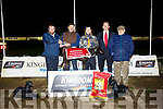 Ballymac INA Winner of the O'Neill's Dogfood Novice Sweepstake final at the Kingdom Greyhound Stadium on Friday. Pictured Pat Barry, O'Neill's Dogfood presents to Liam Dowling,  owner, Stephan Reidy, Declan Dowling and Mike Reidy