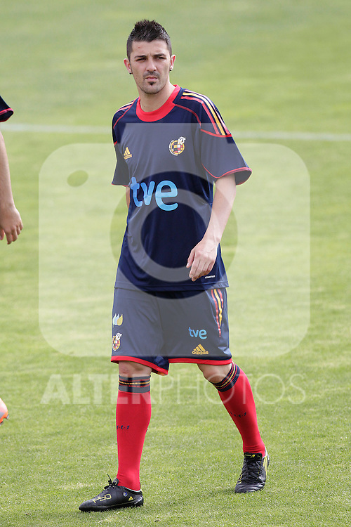 MADRID (25/05/09).- The Spanish Soccer national training session.  David Villa...PHOTO: Cesar Cebolla / ALFAQUI
