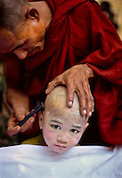 Becoming a monk   <br /> Yangon, Burma/Myanmar 2005.<br /> A young boy gets his head shaved by an elder fellow monk. In this predominately Buddhist country, every Burmese male is expected to take temporary monastic vows twice in his life: once as a samanera or novice monk between ages five and fifteen and again as a pongyi sometime after twenty. Some spend between a few days and three months; others are ordained for life.