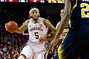 January 9, 2014: Terran Petteway (5) of the Nebraska Cornhuskers drives the lane against the Michigan Wolverines at the Pinnacle Bank Arena, Lincoln, NE. Michigan defeated Nebraska 71 to 70.