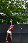 WINSTON SALEM, NC - MAY 22: Janice Shin of the Stanford Cardinal serves against the Vanderbilt Commodores during the Division I Women's Tennis Championship held at the Wake Forest Tennis Center on the Wake Forest University campus on May 22, 2018 in Winston Salem, North Carolina. Stanford defeated Vanderbilt 4-3 for the national title. (Photo by Jamie Schwaberow/NCAA Photos via Getty Images)