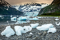 Ice bergs sit on shore at low tide in Harriman Fjord. In background is Surprise Glacier and the Chugach Mountains. Prince William Sound.