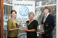 Irish Independent Lady Captains Golf Classic Regional Finals.. Louise Collins Left  presentsC Cavan Patricia Tracey and Majella Brady third place with 34 points...Photo: Fran Caffrey/ Newsfile.