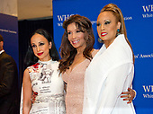From left to right: Nina Radcliff, Angela McGlowan and Santita Jackson arrive for the 2017 White House Correspondents Association Annual Dinner at the Washington Hilton Hotel on Saturday, April 29, 2017.<br /> Credit: Ron Sachs / CNP