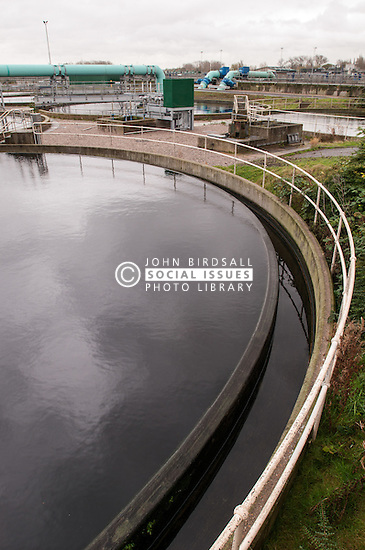 One of the aeration tanks on sewage works. Aeration encourages micro-organisms to feed on bacteria in the processed sewage (secondary treatment).