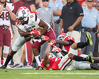 ATHENS, GEORGIA - September 19, 2015: University of Georgia Bulldogs vs University of South Carolina Gamecocks at Sanford Stadium.  Final score, Georgia 52, South Carolina 20.