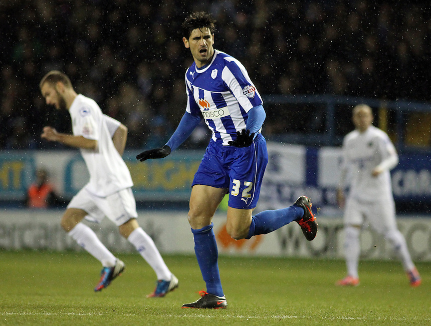 Sheffield Wednesday's Miguel Angel Llera<br /> <br /> Photo by Rich Linley/CameraSport<br /> <br /> Football - FA Challenge Cup Third Round replay - Sheffield Wednesday v Macclesfield Town - Tuesday 14th January 2014 - Hillsborough - Sheffield<br /> <br />  &copy; CameraSport - 43 Linden Ave. Countesthorpe. Leicester. England. LE8 5PG - Tel: +44 (0) 116 277 4147 - admin@camerasport.com - www.camerasport.com