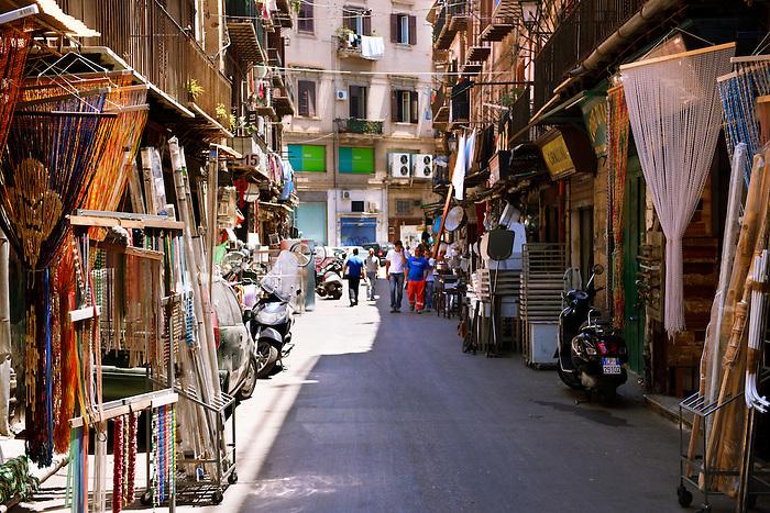 Via Calderai, street shops, Sicily