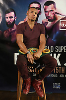 Chris Eubank Jnr on a stool during a Press Conference at the Sky Bar, Hilton Hotel on 13th July 2017