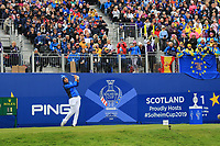 Carlota Ciganda (EUR) on the 1st tee during Day 3 Singles at the Solheim Cup 2019, Gleneagles Golf CLub, Auchterarder, Perthshire, Scotland. 15/09/2019.<br /> Picture Thos Caffrey / Golffile.ie<br /> <br /> All photo usage must carry mandatory copyright credit (© Golffile | Thos Caffrey)