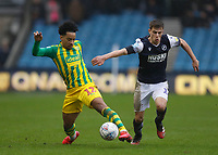9th February 2020; The Den, London, England; English Championship Football, Millwall versus West Bromwich Albion; Matheus Pereira of West Bromwich Albion being marked by Jayson Molumby of Millwall - Strictly Editorial Use Only. No use with unauthorized audio, video, data, fixture lists, club/league logos or 'live' services. Online in-match use limited to 120 images, no video emulation. No use in betting, games or single club/league/player publications