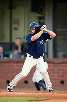 Mobile BayBears left fielder Forrestt Allday (5) at bat during a game against the Pensacola Blue Wahoos on April 25, 2017 at Hank Aaron Stadium in Mobile, Alabama.  Mobile defeated Pensacola 3-0.  (Mike Janes/Four Seam Images)