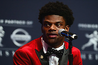 December 10, 2016: Louisville quarterback Lamar Jackson speaks to members of the media during a news conference for the Heisman Trophy finalists at the New York Marriott Marquis, December 10, 2016. At the time of the announcement, Jackson amassed 3,390 passing yards,  touchdowns and 1,538 rushing yards. (Photo by Don Baxter/Media Images International)