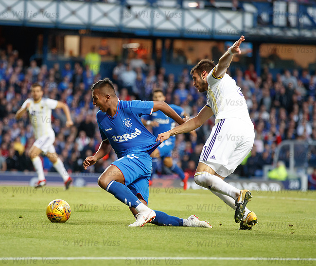 09.08.18 Rangers v Maribor: Alfredo Morelos fouled for penalty