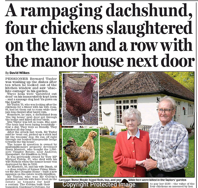 Daily Mail chicken slaughter story. Pic of couple infront of their cottage.