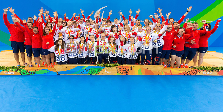 Picture by Rogan Thomson/SWpix.com - 17/09/2016 - 2016 Rio Paralympic Games - Swimming - Olympic Aquatics Centre, Rio de Janeiro, Brazil - GB swimmers and staff pose for a team photo after the final day's action in the pool.