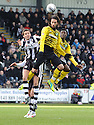CELTIC'S GEORGIOS SAMARAS GETS ABOVE ST MIRREN'S LEE MAIR.