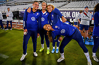 JACKSONVILLE, FL - NOVEMBER 10: Adrianna Franch #21, Lynn Williams #27, Casey Short #26 and Jessica McDonald #22 of the United States have fun during a game between Costa Rica and USWNT at TIAA Bank Field on November 10, 2019 in Jacksonville, Florida.