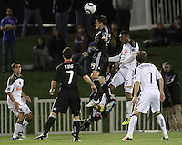 Blake Brettechneider(29) of D.C. United leaps higher than Carlos Valdes(5) of the Philadelphia Union to connect with a header during a play-in game for the US Open Cup tournament at Maryland Sportsplex, in Boyds, Maryland on April 6 2011. D.C. United won 3-2 after overtime penalty kicks.