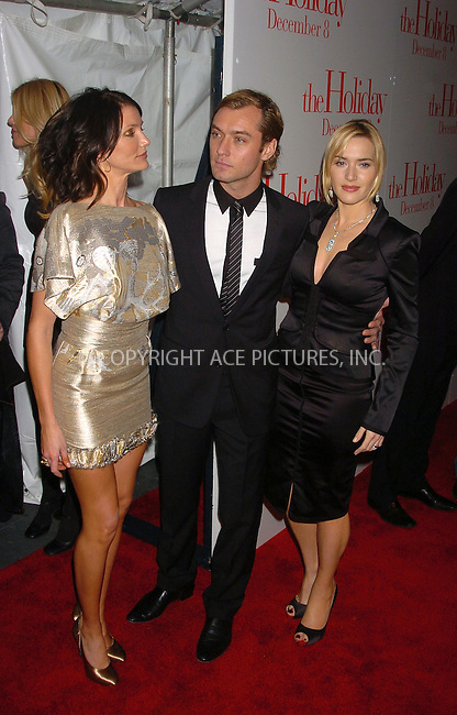 WWW.ACEPIXS.COM . . . . .  ....November 29, 2006, New York City. ....Cameron Diaz, Jude Law and Kate Winslet attend the Premiere of 'The Holiday'. ....Please byline: AJ Sokalner - ACEPIXS.COM..... *** ***..Ace Pictures, Inc:  ..(212) 243-8787 or (646) 769 0430..e-mail: info@acepixs.com..web: http://www.acepixs.com